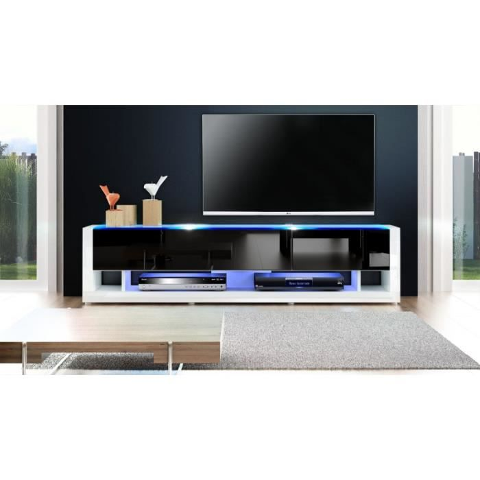 meuble tv design blanc et noir avec led 156 cm achat vente meuble tv meuble tv design blanc. Black Bedroom Furniture Sets. Home Design Ideas