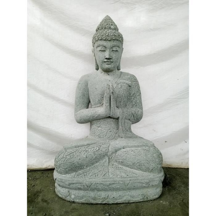 Statue jardin ext rieur bouddha pierre volcanique position priere 1 m achat vente statue for Decoration jardin bouddha