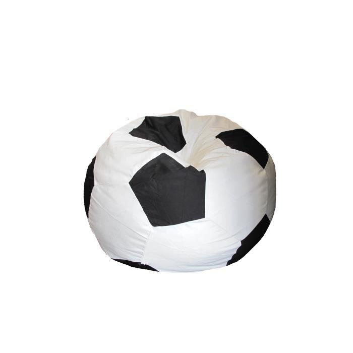 Pouf ballon foot noir blanc achat vente pouf poire pvc nylon les - Ballon de foot noir et blanc ...