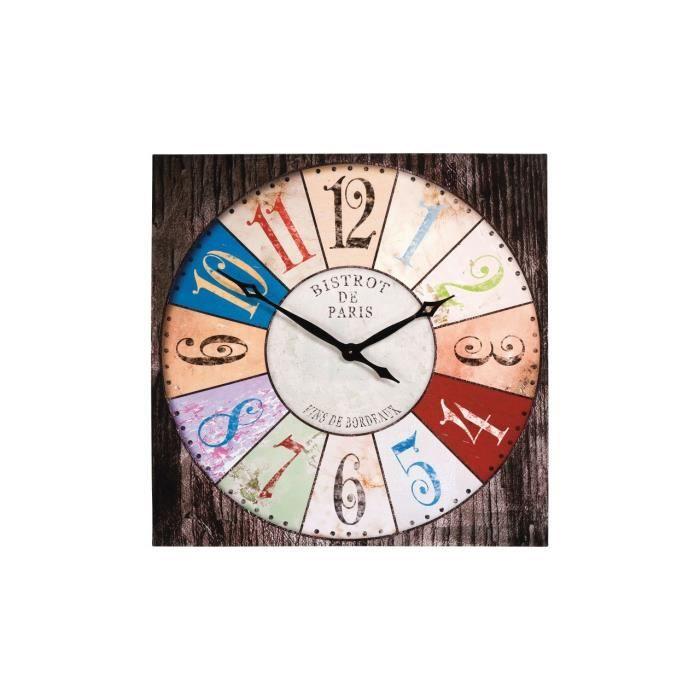 grande horloge color e bistrot 80 x 80 cm achat vente horloge toile bois soldes d t. Black Bedroom Furniture Sets. Home Design Ideas