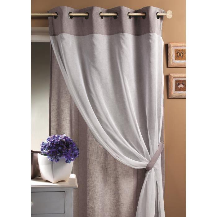 voilage double en tamine 2 tons gris 140 x 260cm achat vente rideau 100 polyester bronze. Black Bedroom Furniture Sets. Home Design Ideas