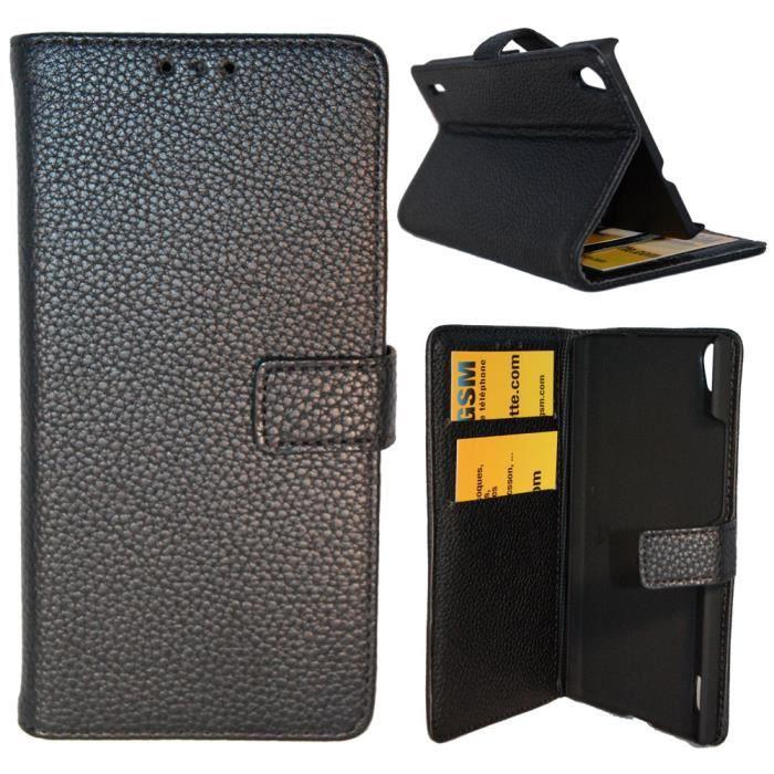 etui housse coque portefeuille ascend p7 noir achat vente etui portefeuille cdiscount. Black Bedroom Furniture Sets. Home Design Ideas