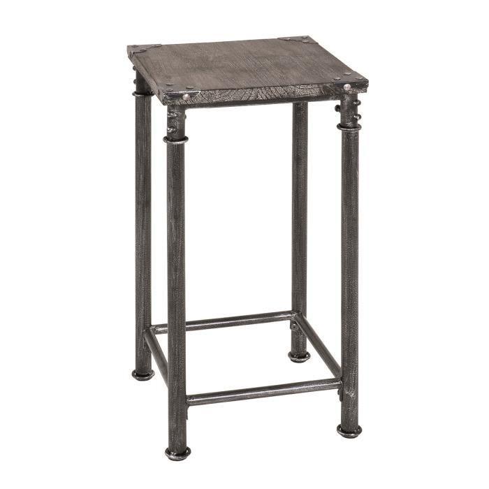 Table d 39 appoint en acier noir et bois massif gr achat - Table d appoint noire ...