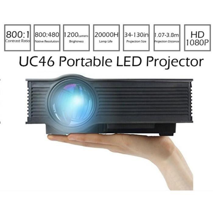 projecteur led mini portable multimedia 1080p wifi sans. Black Bedroom Furniture Sets. Home Design Ideas