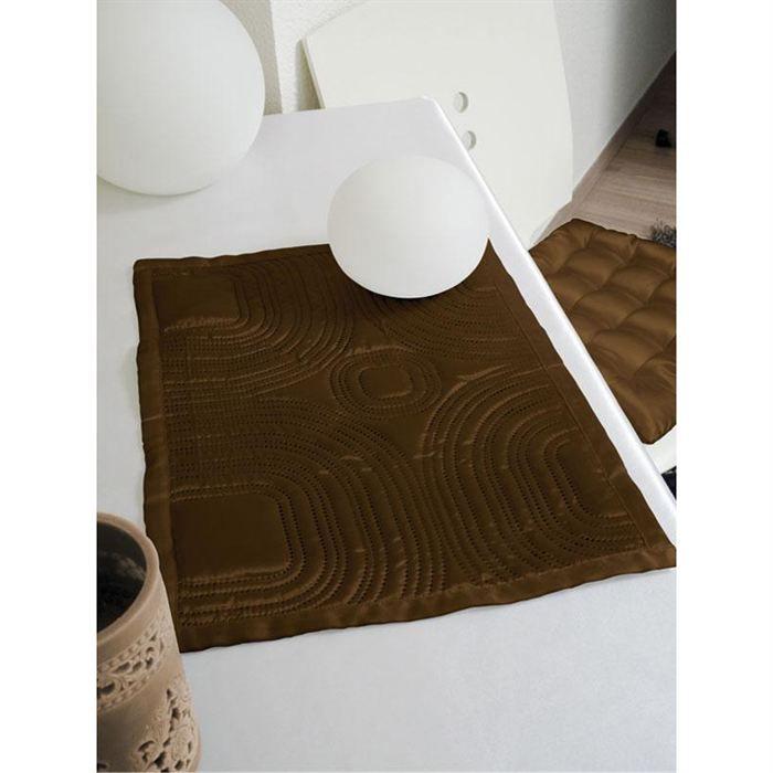 Set de table matelasse 30x40cm satin chocolat achat for Set de table matelasse
