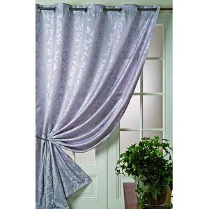 rideau jacquard fleurs baroque argent 140x260cm achat vente rideau voilage 100 polyester. Black Bedroom Furniture Sets. Home Design Ideas