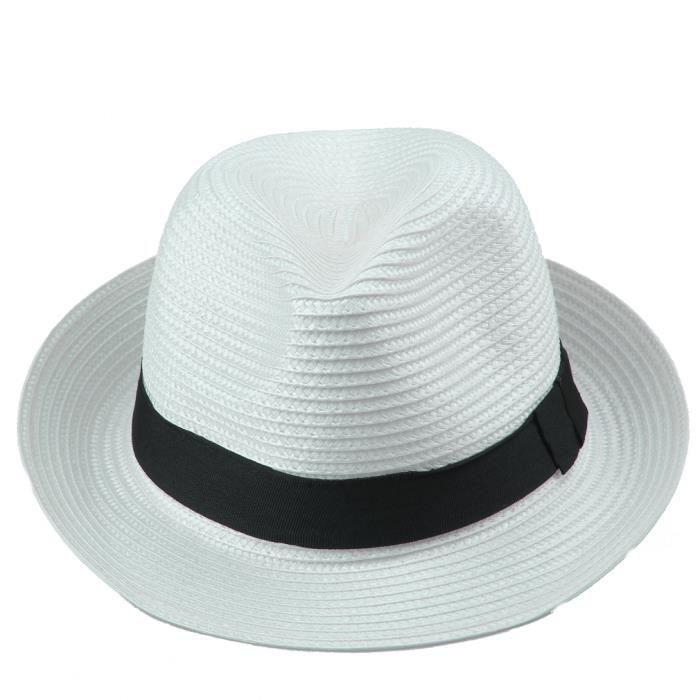 blanc t chapeau de paille panama hat homme femme parfait plage hat achat vente chapeau. Black Bedroom Furniture Sets. Home Design Ideas