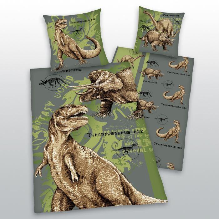 parure housse de couette taie tyrannosaure vert achat vente parure de couette cdiscount. Black Bedroom Furniture Sets. Home Design Ideas