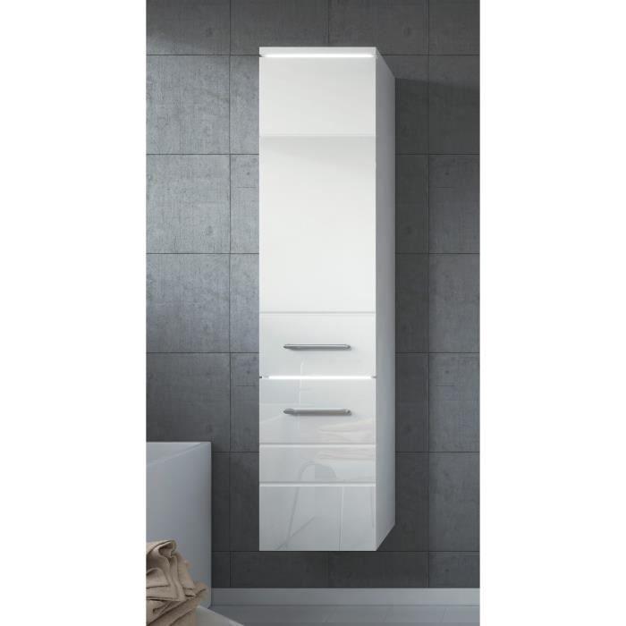 armoire de rangement de toledo hauteur 132 cm blanc brillant meuble de rangement haut. Black Bedroom Furniture Sets. Home Design Ideas