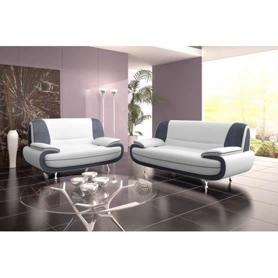 Canap design 3 2 bregga microfibre blanc et gr achat vente canap s - Canape design discount ...