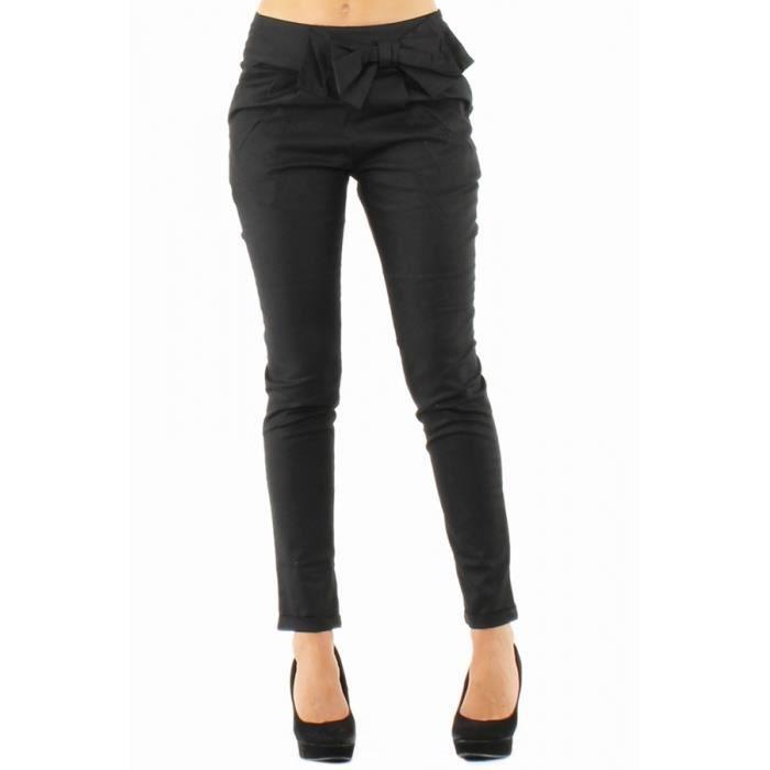 pantalon noir avec noeud femme noir achat vente pantalon cdiscount. Black Bedroom Furniture Sets. Home Design Ideas