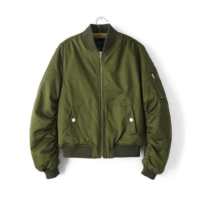 bomber jacket femme d contract e blouson veste vert achat vente blouson soldes cdiscount
