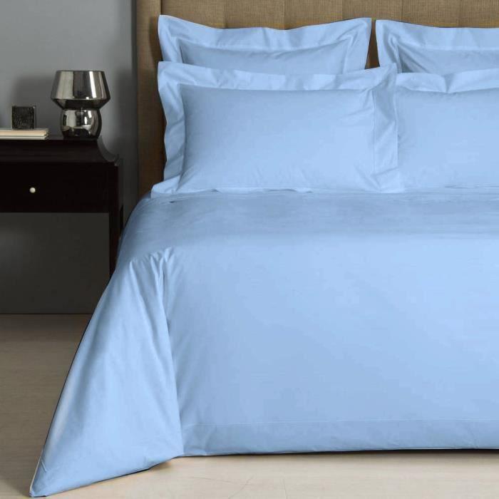Housse de couette uni bleu ciel percale de coton salom for Housse de couette 200x200 bleu
