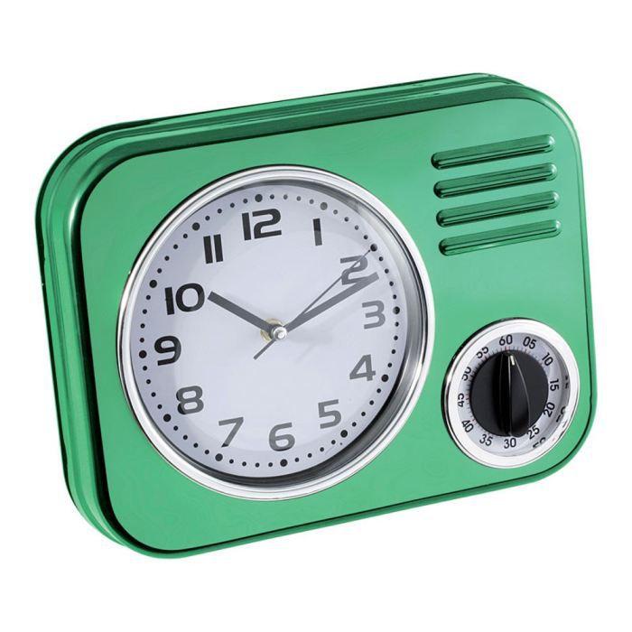 Pendule de cuisine vert claire en m tal achat vente for Pendule de cuisine murale