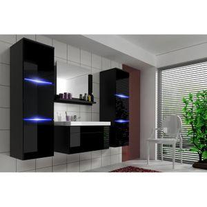 meuble de salle de bain noir laque achat vente meuble de salle de bain noir laque pas cher. Black Bedroom Furniture Sets. Home Design Ideas
