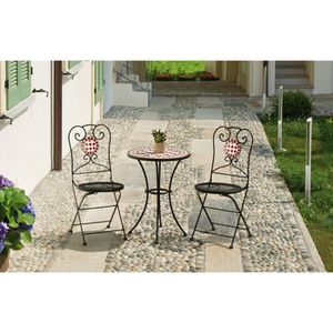 Table de jardin en mosaique avec chaises achat vente for Salon de jardin mosaique