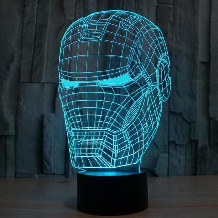 Super hero 3d iron man en forme night light 7 couleurs for Maison d iron man