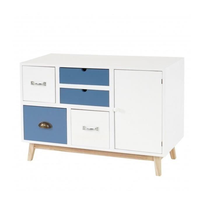 Commode meuble de rangement avec compartiment et 5 tiroirs - Meuble rangement cdiscount ...