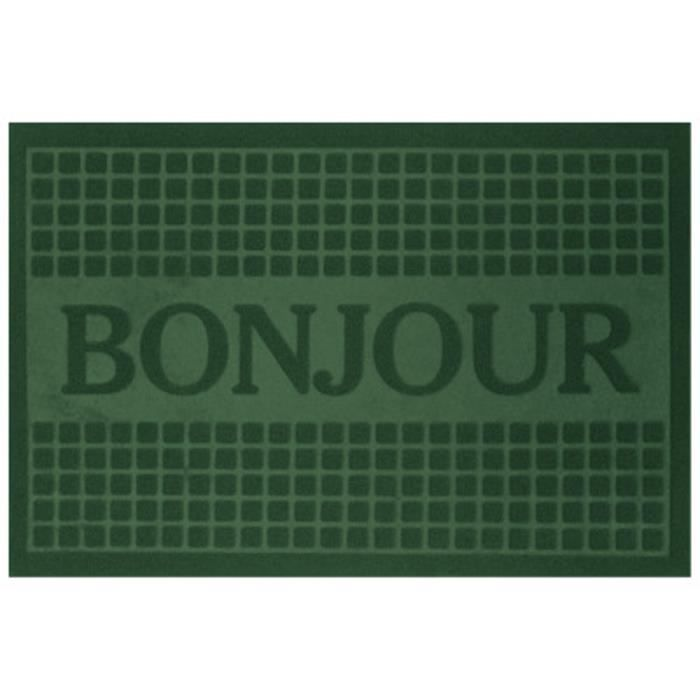 tapis d 39 entr e anti poussi re 40x60 bonjour vert achat vente paillasson cdiscount. Black Bedroom Furniture Sets. Home Design Ideas