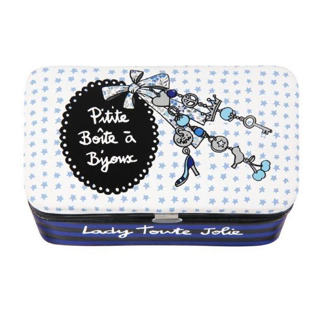 bo te bijoux 39 lady toute jolie 39 bleu dlp achat vente boite de rangement tissu. Black Bedroom Furniture Sets. Home Design Ideas