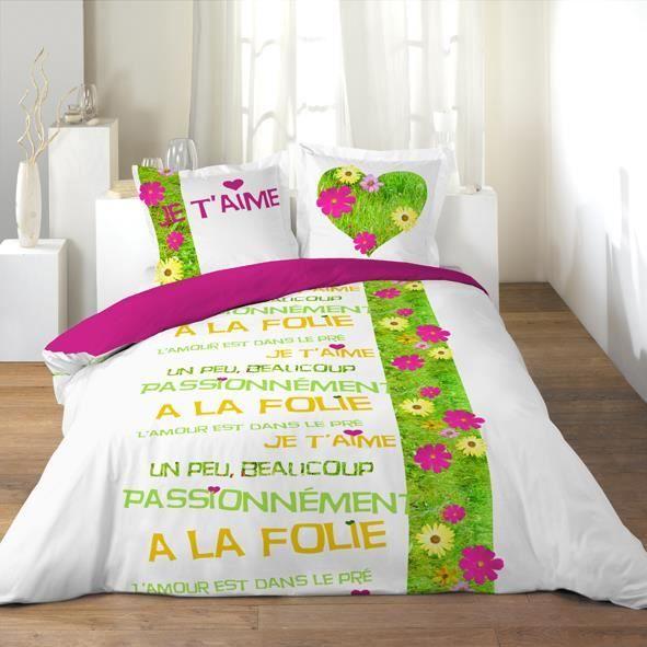 housse de couette 220x240 2 taies l amour a l achat. Black Bedroom Furniture Sets. Home Design Ideas