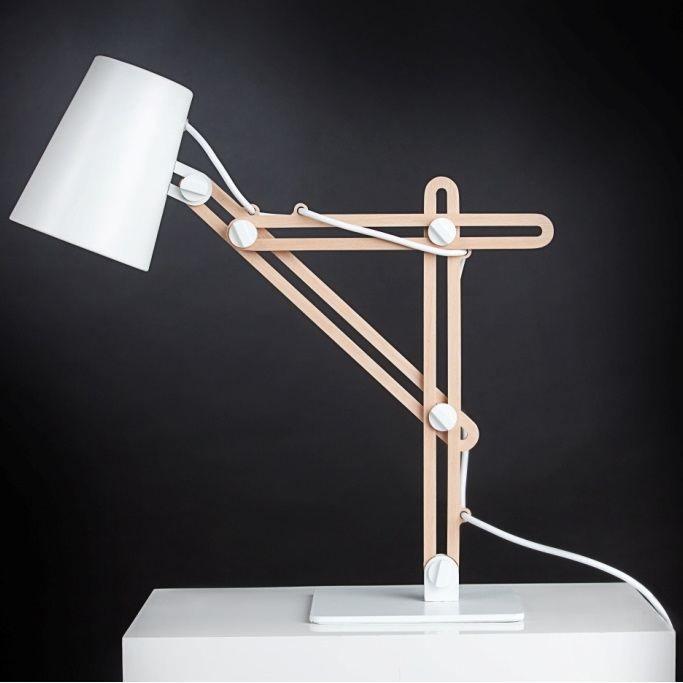 Lampe de bureau blanche et bois achat vente lampe de - Lampe de bureau bois ...