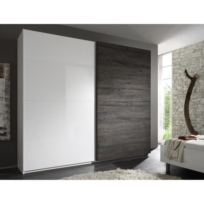 Armoire design 2 portes coulissantes blanc laqu weng t n rif armoire 240 cm - Porte coulissante 240 ...