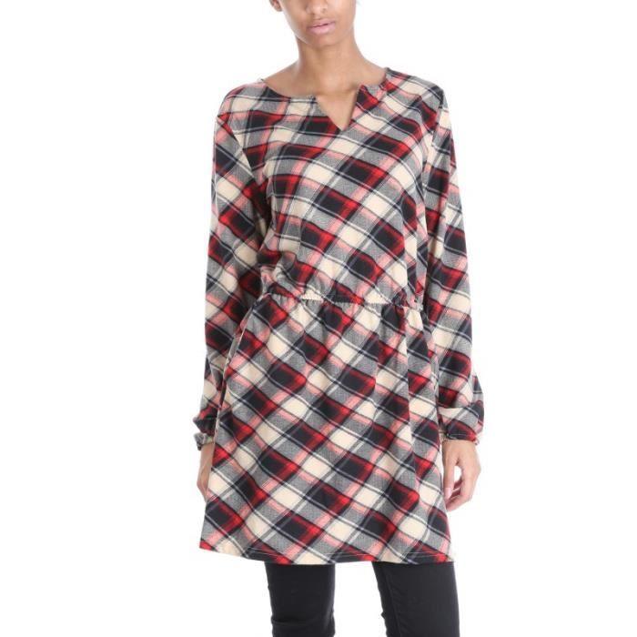Robe tunique carreaux avec col ouvert en v ba rouge for Tunique a carreaux