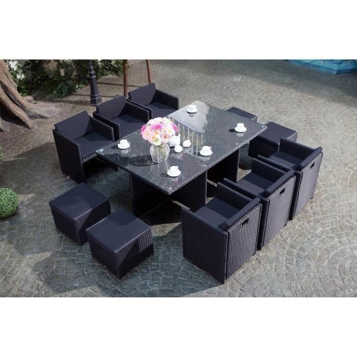 Salon jardin noir encastrable r sine 10 personnes achat vente salon de ja - Salon jardin 2 personnes ...