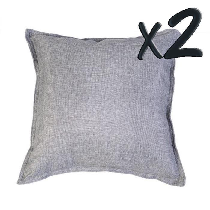 Lot de 2 coussins d houssable tr s tendance carr gris fonc 40 x 40 cm ac - Coussin anti transpirant ...