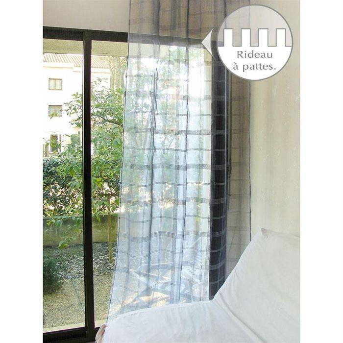 voilage a pattes 140x250 cm jim gris organza achat vente rideau voilage voilage a pattes. Black Bedroom Furniture Sets. Home Design Ideas