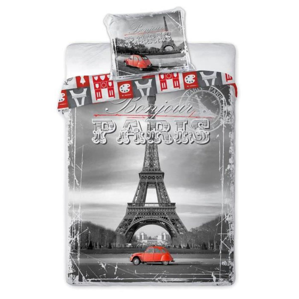 2cv rouge a paris linge de lit housse de couette 140x200 taie 70x90 id e d co tour eiffel 100. Black Bedroom Furniture Sets. Home Design Ideas