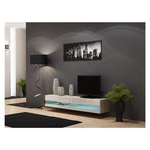 Meuble tv laque taupe achat vente meuble tv laque - Meuble sous tv suspendu ...