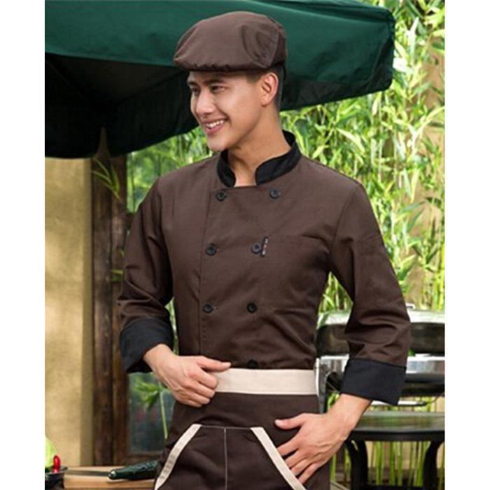 Veste de cuisine femme et homme aux manches longues professionnelle xxxl caf lavable cadeau - Cuisine etroite et longue ...