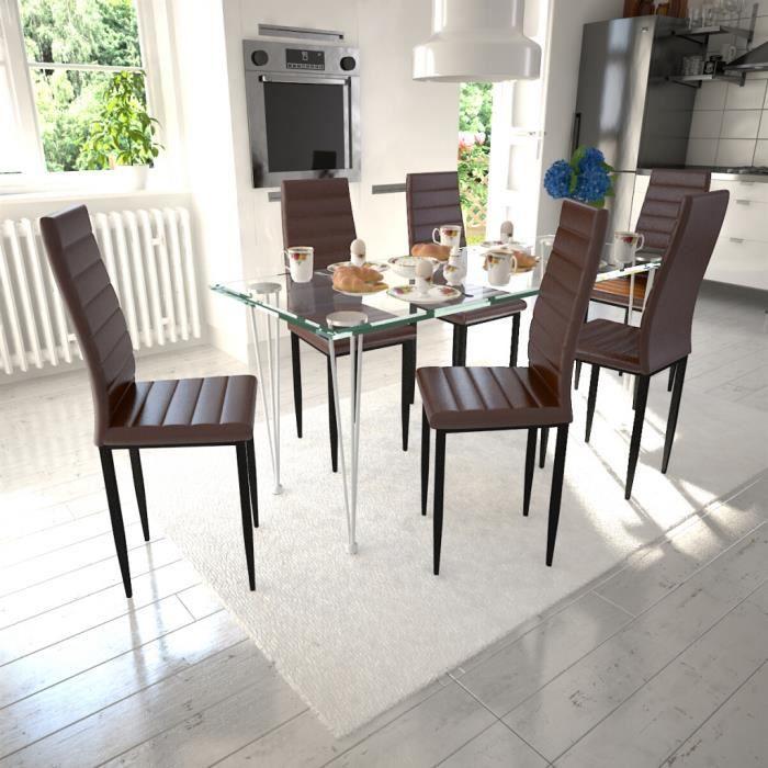 Lot De 6 Chaises Marron Aux Lignes Fines Avec Une Table En Verre Achat Vente Table A Manger