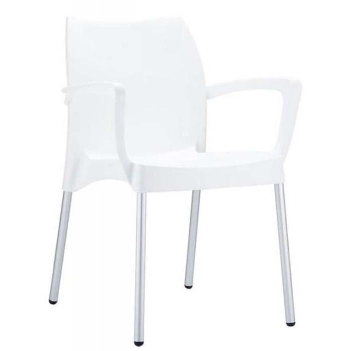 Chaise de jardin empilable en plastique blanc achat for Chaise de jardin plastique blanc