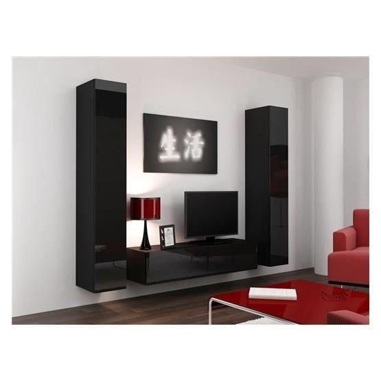 Meuble tv design suspendu vini noir achat vente meuble for Meuble tv design noir