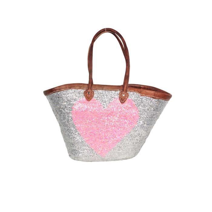 panier marocain en paillettes argent es et motif coeur rose u rose achat vente panier sac. Black Bedroom Furniture Sets. Home Design Ideas