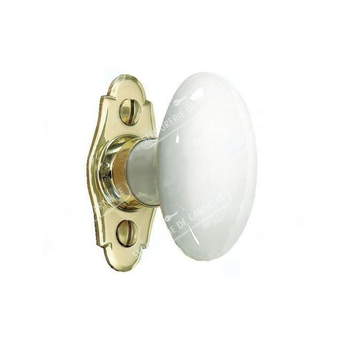 Poign es de fen tre en porcelaine de merigous laiton for Poignees de porte en porcelaine
