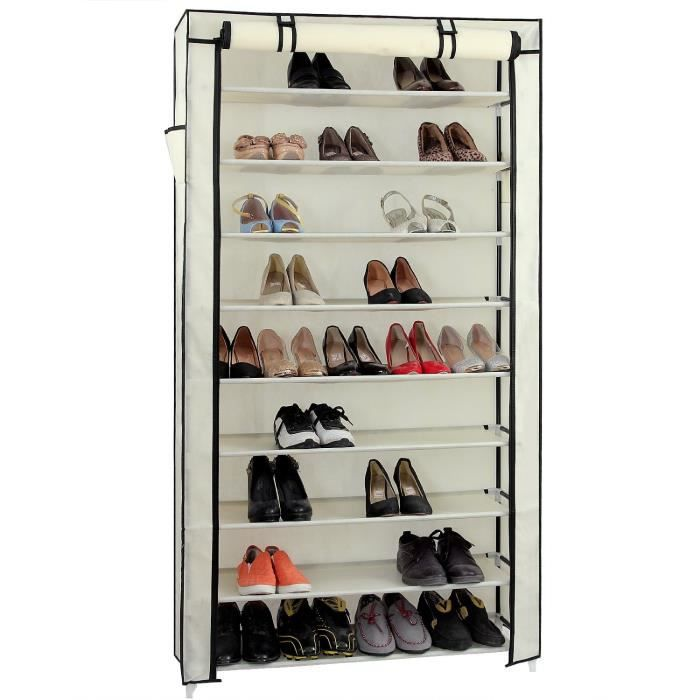 Armoire Box Rangement Chaussure 45 Paires Beige Achat Vente Meuble Chaussures Armoire Box
