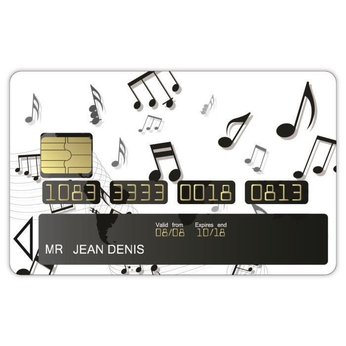 stickers carte bancaire motif notes de musique Achat / Vente porte