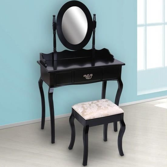 coiffeuse noire avec un tiroir miroir et taboure achat