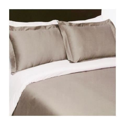 Housse de couette satin 220x240 taupe blanc achat for Housse couette satin