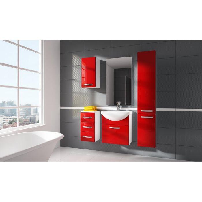 Meuble haut salle de bain rouge - Salle de bains rouge ...