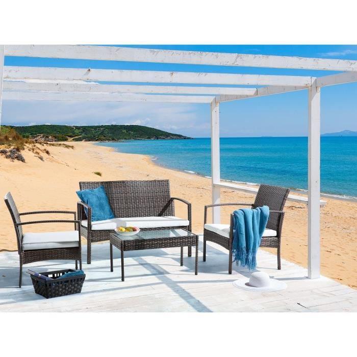 Ensemble de jardin canap table et 2 chaises rotin for Table et 2 chaises