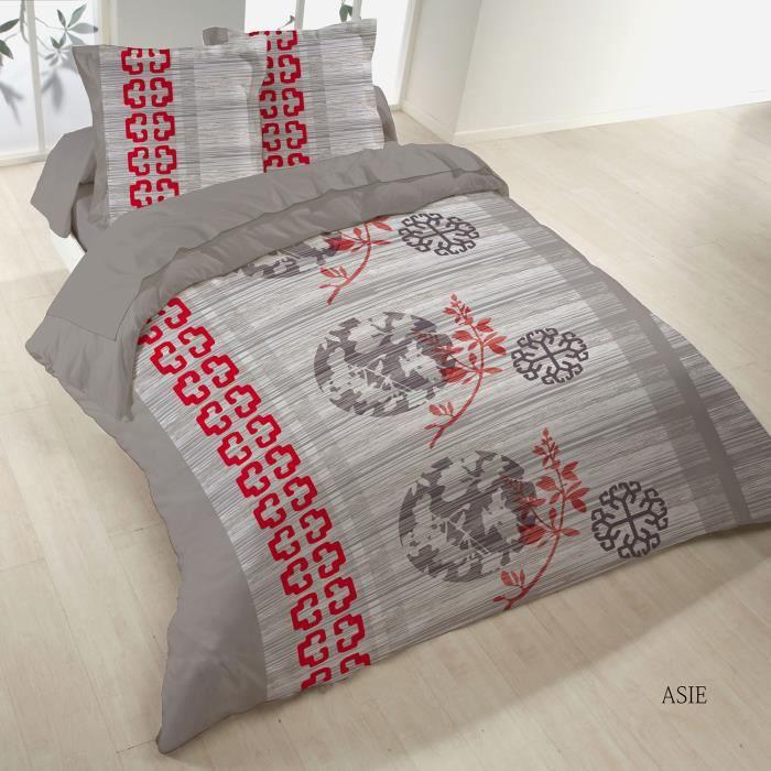 parure de lit 4 pi ces 2 personnes imprim e asie achat vente parure de drap cdiscount. Black Bedroom Furniture Sets. Home Design Ideas