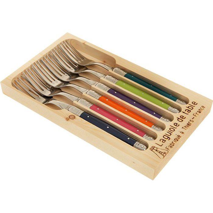 jean dubost laguiole coffret 6 fourchettes couleur achat vente m nag re cdiscount. Black Bedroom Furniture Sets. Home Design Ideas