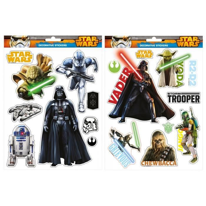 Star wars 1 planche mega stickers autocollants id e d co for Autocollant mural star wars