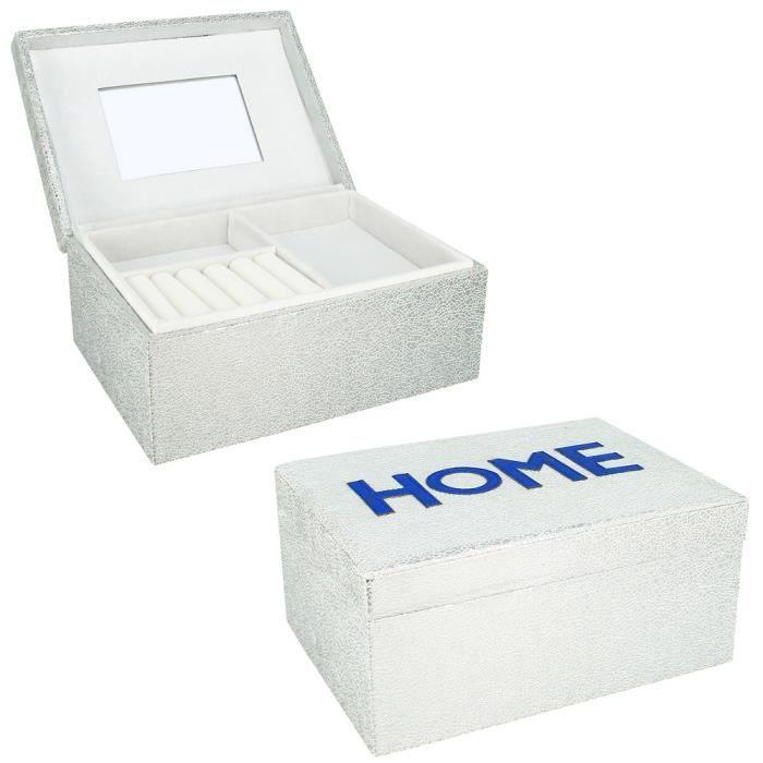 grande boite bijoux luxe argent double fond achat vente boite a bijoux grande boite. Black Bedroom Furniture Sets. Home Design Ideas