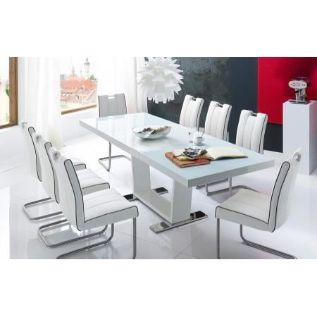 Table manger extensible blanc laqu canillos achat for Achat table a manger